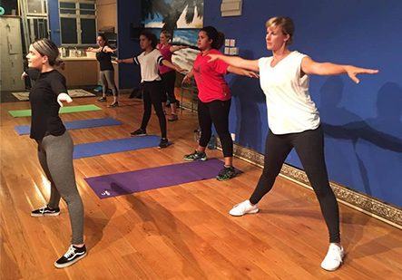 adults doing fitness