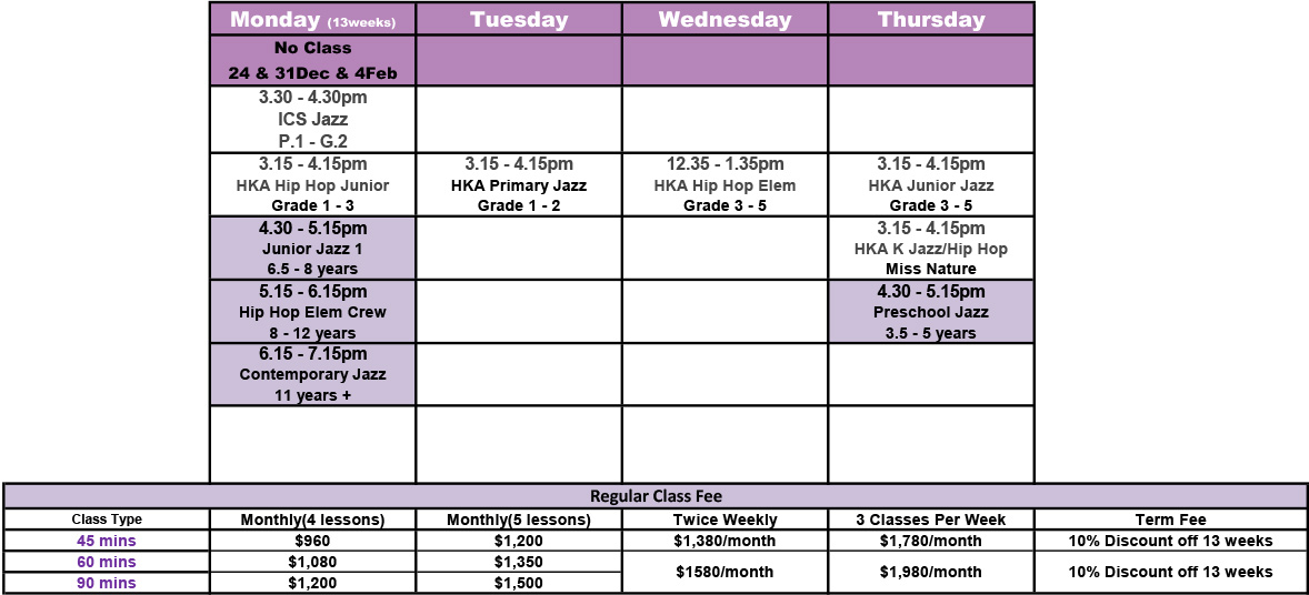 Academy of Dance - Sai Kung Dec 2018 to Mar 2019 TimeTable